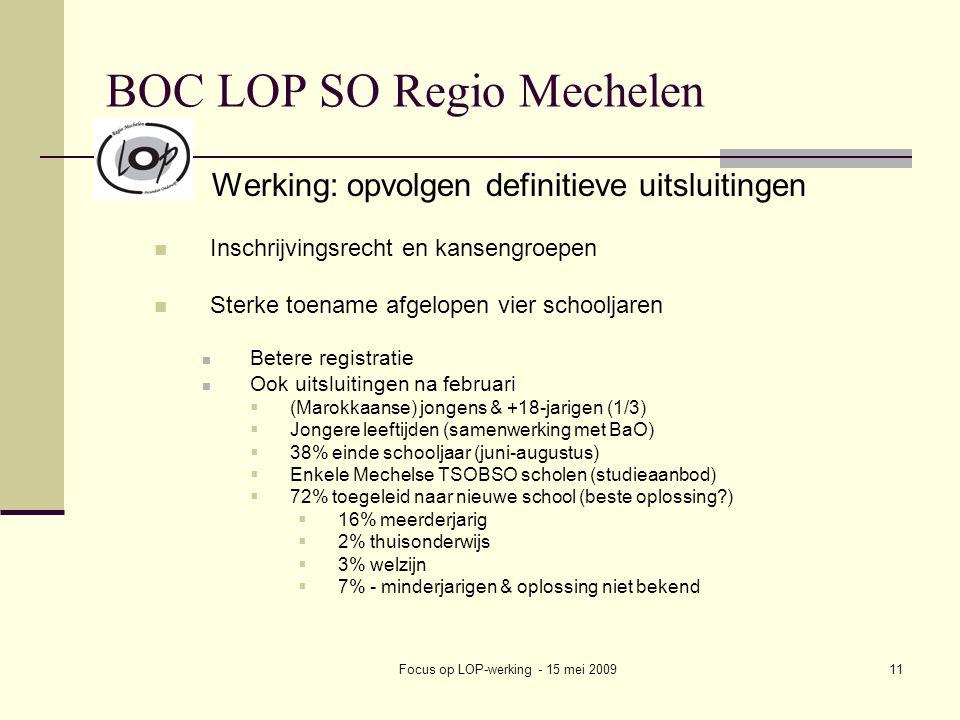 Focus op LOP-werking - 15 mei 200911 BOC LOP SO Regio Mechelen Werking: opvolgen definitieve uitsluitingen Inschrijvingsrecht en kansengroepen Sterke toename afgelopen vier schooljaren Betere registratie Ook uitsluitingen na februari  (Marokkaanse) jongens & +18-jarigen (1/3)  Jongere leeftijden (samenwerking met BaO)  38% einde schooljaar (juni-augustus)  Enkele Mechelse TSOBSO scholen (studieaanbod)  72% toegeleid naar nieuwe school (beste oplossing )  16% meerderjarig  2% thuisonderwijs  3% welzijn  7% - minderjarigen & oplossing niet bekend