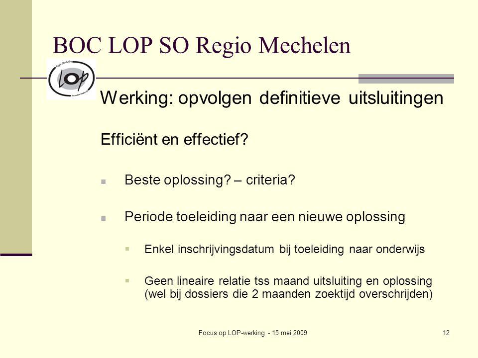 Focus op LOP-werking - 15 mei 200912 BOC LOP SO Regio Mechelen Werking: opvolgen definitieve uitsluitingen Efficiënt en effectief? Beste oplossing? –