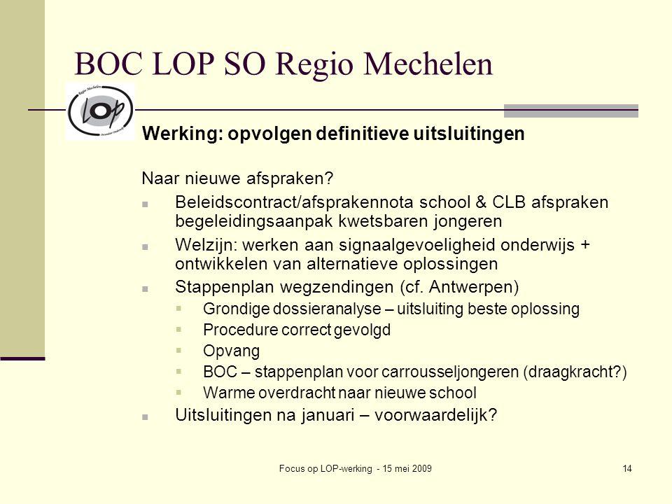 Focus op LOP-werking - 15 mei 200914 BOC LOP SO Regio Mechelen Werking: opvolgen definitieve uitsluitingen Naar nieuwe afspraken? Beleidscontract/afsp