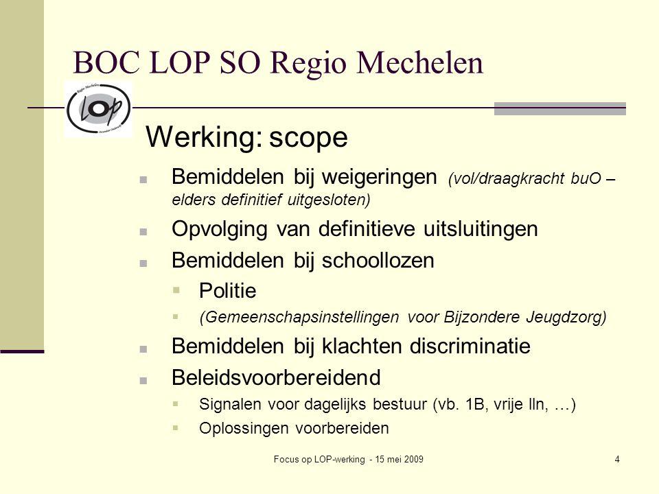 Focus op LOP-werking - 15 mei 20094 BOC LOP SO Regio Mechelen Werking: scope Bemiddelen bij weigeringen (vol/draagkracht buO – elders definitief uitgesloten) Opvolging van definitieve uitsluitingen Bemiddelen bij schoollozen  Politie  (Gemeenschapsinstellingen voor Bijzondere Jeugdzorg) Bemiddelen bij klachten discriminatie Beleidsvoorbereidend  Signalen voor dagelijks bestuur (vb.