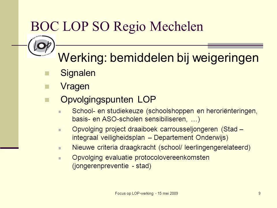 Focus op LOP-werking - 15 mei 20099 BOC LOP SO Regio Mechelen Werking: bemiddelen bij weigeringen Signalen Vragen Opvolgingspunten LOP School- en studiekeuze (schoolshoppen en heroriënteringen, basis- en ASO-scholen sensibiliseren, …) Opvolging project draaiboek carrousseljongeren (Stad – integraal veiligheidsplan – Departement Onderwijs) Nieuwe criteria draagkracht (school/ leerlingengerelateerd) Opvolging evaluatie protocolovereenkomsten (jongerenpreventie - stad)