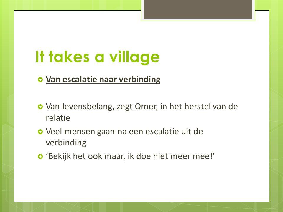 It takes a village  Van escalatie naar verbinding  Van levensbelang, zegt Omer, in het herstel van de relatie  Veel mensen gaan na een escalatie uit de verbinding  'Bekijk het ook maar, ik doe niet meer mee!'