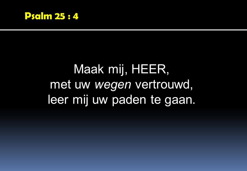 Psalm 25 : 4 Maak mij, HEER, met uw wegen vertrouwd, leer mij uw paden te gaan.