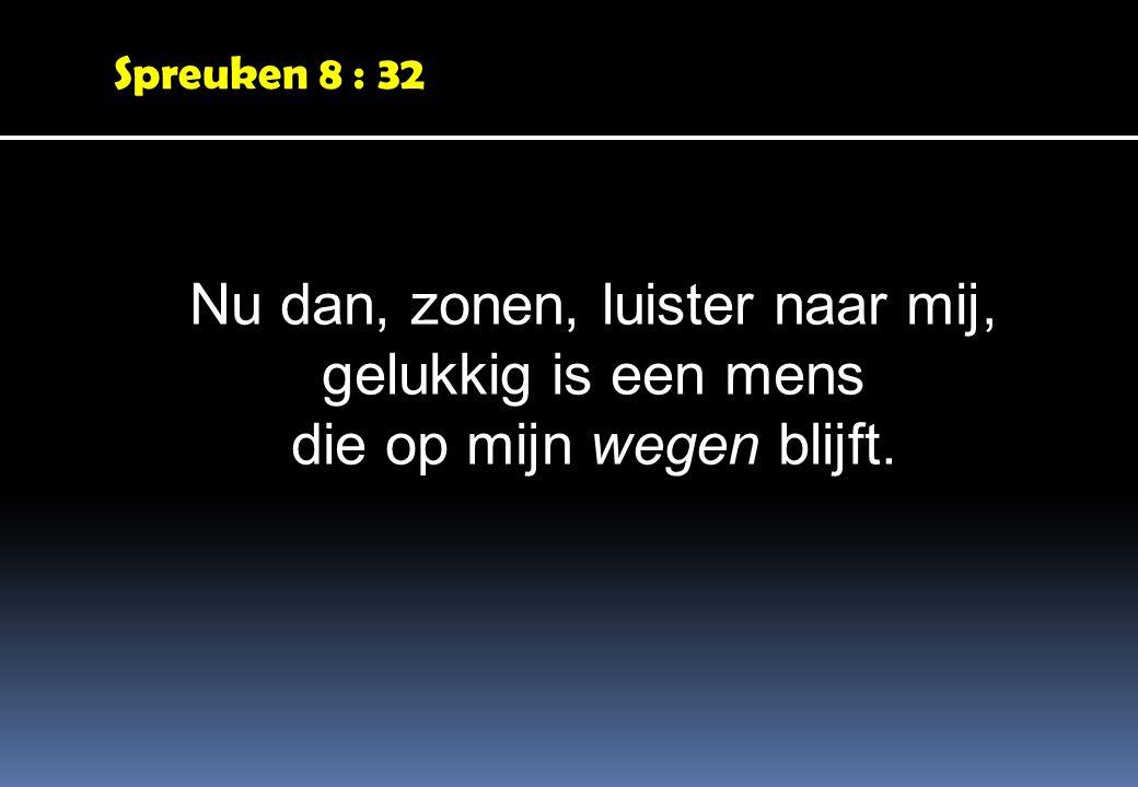 Spreuken 8 : 32 Nu dan, zonen, luister naar mij, gelukkig is een mens die op mijn wegen blijft.