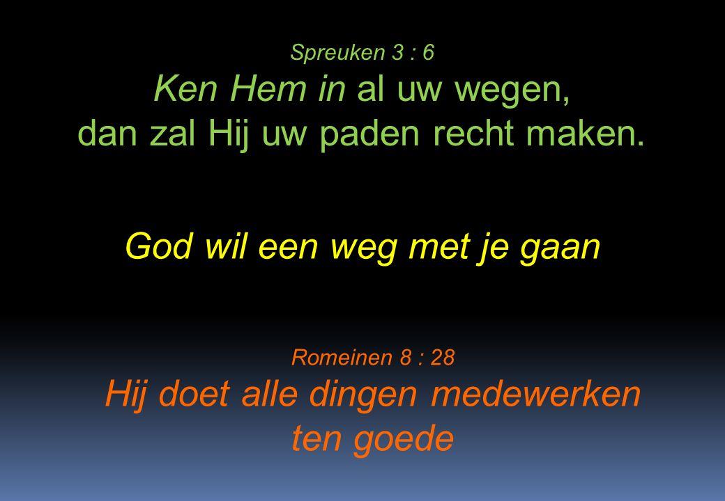 Spreuken 3 : 6 Ken Hem in al uw wegen, dan zal Hij uw paden recht maken. God wil een weg met je gaan Romeinen 8 : 28 Hij doet alle dingen medewerken t