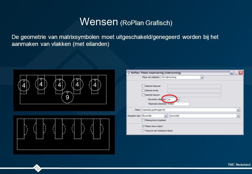 TMC Nederland Wensen (RoPlan Grafisch) De geometrie van matrixsymbolen moet uitgeschakeld/genegeerd worden bij het aanmaken van vlakken (met eilanden)