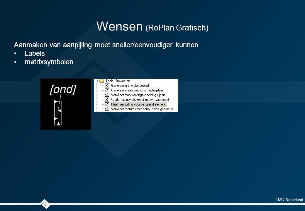TMC Nederland Wensen (RoPlan Grafisch) Aanmaken van aanpijling moet sneller/eenvoudiger kunnen Labels matrixsymbolen