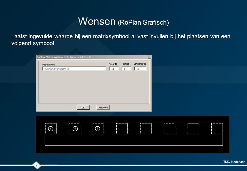 TMC Nederland Wensen (RoPlan Grafisch) Laatst ingevulde waarde bij een matrixsymbool al vast invullen bij het plaatsen van een volgend symbool.