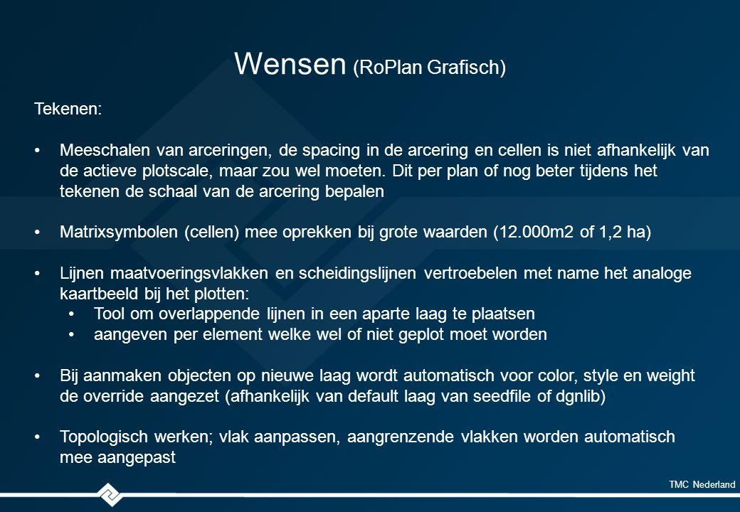 TMC Nederland Wensen (RoPlan Grafisch) Tekenen: Meeschalen van arceringen, de spacing in de arcering en cellen is niet afhankelijk van de actieve plotscale, maar zou wel moeten.