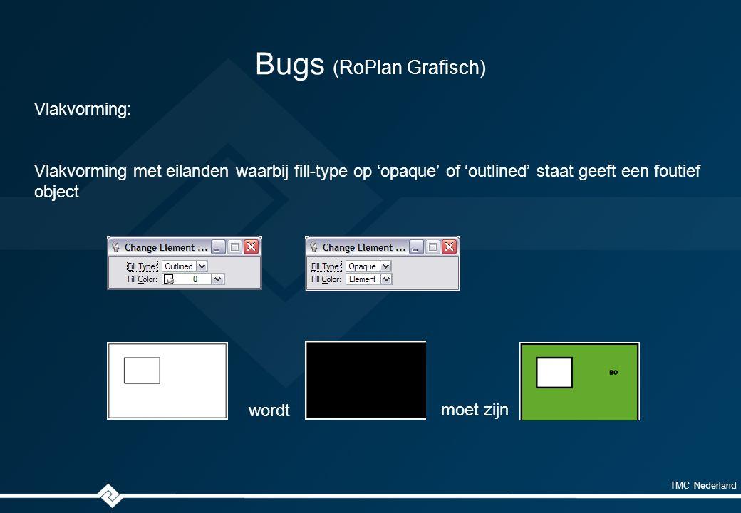 TMC Nederland Bugs (RoPlan Grafisch) Vlakvorming: Vlakvorming met eilanden waarbij fill-type op 'opaque' of 'outlined' staat geeft een foutief object wordt moet zijn