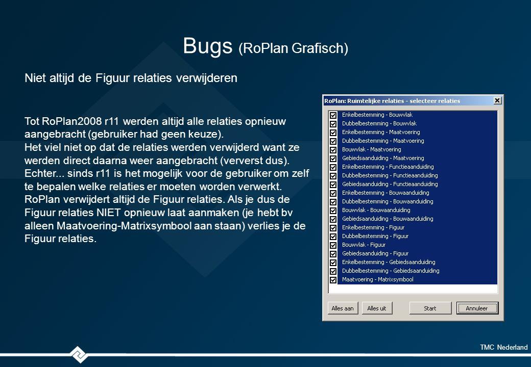 TMC Nederland Bugs (RoPlan Grafisch) Niet altijd de Figuur relaties verwijderen Tot RoPlan2008 r11 werden altijd alle relaties opnieuw aangebracht (gebruiker had geen keuze).