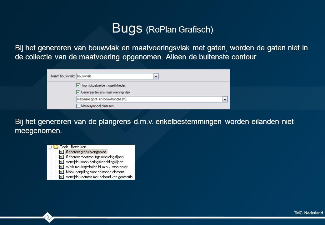 TMC Nederland Bugs (RoPlan Grafisch) Bij het genereren van bouwvlak en maatvoeringsvlak met gaten, worden de gaten niet in de collectie van de maatvoering opgenomen.