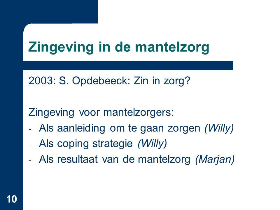 10 Zingeving in de mantelzorg 2003: S. Opdebeeck: Zin in zorg.