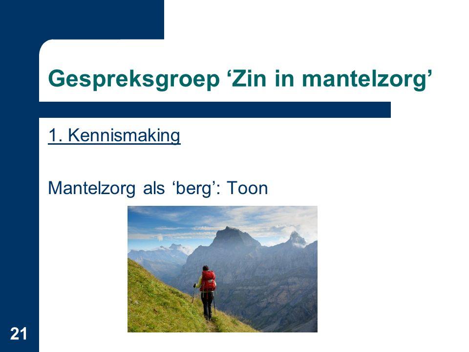 21 Gespreksgroep 'Zin in mantelzorg' 1. Kennismaking Mantelzorg als 'berg': Toon