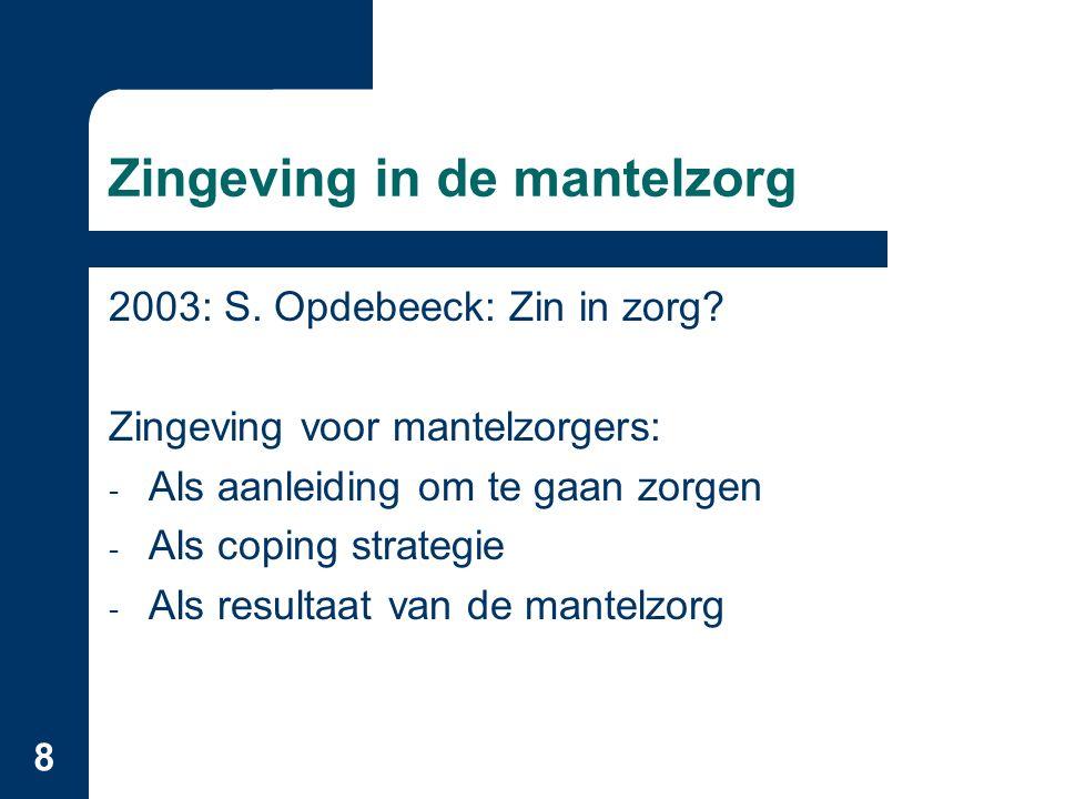 8 Zingeving in de mantelzorg 2003: S. Opdebeeck: Zin in zorg.