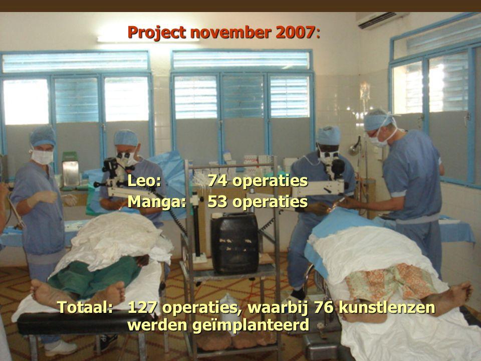Project november 2007: Leo: 74 operaties Manga: 53 operaties Totaal:127 operaties, waarbij 76 kunstlenzen werden geïmplanteerd