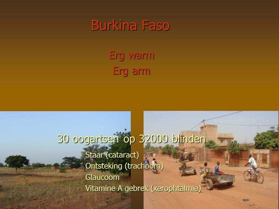 Erg warm Erg arm 30 oogartsen op 32000 blinden Staar (cataract) Ontsteking (trachoom) Glaucoom Vitamine A gebrek (xerophtalmie) Burkina Faso