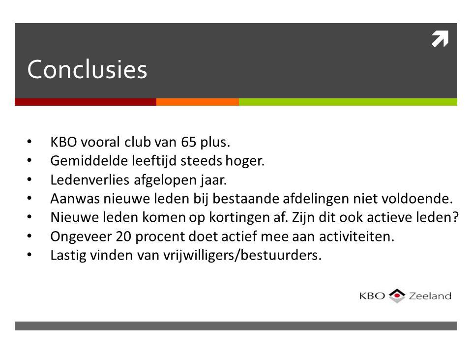  Conclusies KBO vooral club van 65 plus. Gemiddelde leeftijd steeds hoger.
