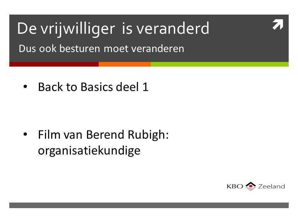  De vrijwilliger is veranderd Dus ook besturen moet veranderen Back to Basics deel 1 Film van Berend Rubigh: organisatiekundige