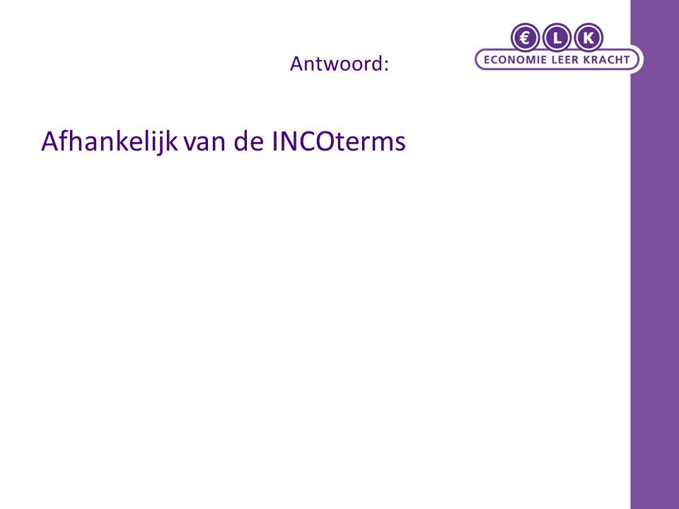 INCOTERMS Internationale Standaard-Leveringscondities (INternational COmmercial Terms) die de overgang van 1.