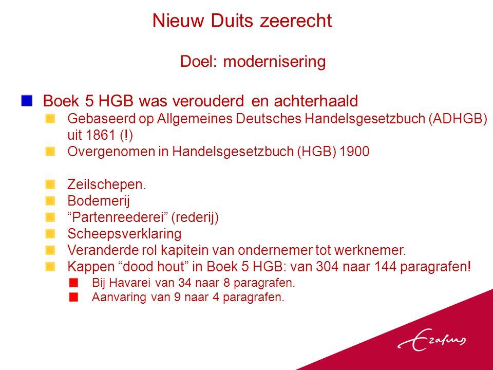 Doel: modernisering Boek 5 HGB was verouderd en achterhaald Gebaseerd op Allgemeines Deutsches Handelsgesetzbuch (ADHGB) uit 1861 (!) Overgenomen in Handelsgesetzbuch (HGB) 1900 Zeilschepen.