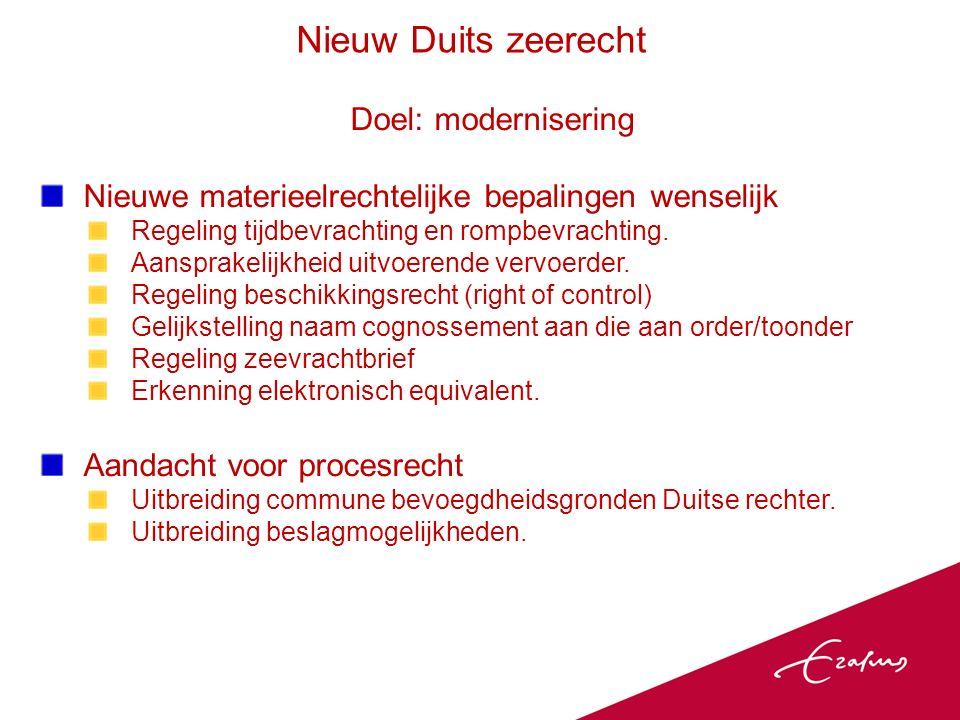 Doel: modernisering Nieuwe materieelrechtelijke bepalingen wenselijk Regeling tijdbevrachting en rompbevrachting.