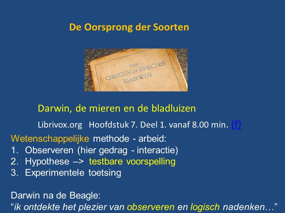 De Oorsprong der Soorten Darwin, de mieren en de bladluizen Librivox.org Hoofdstuk 7.
