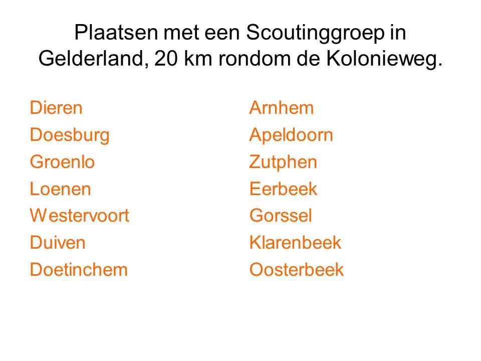 Plaatsen met een Scoutinggroep in Gelderland, 20 km rondom de Kolonieweg. Dieren Doesburg Groenlo Loenen Westervoort Duiven Doetinchem Arnhem Apeldoor
