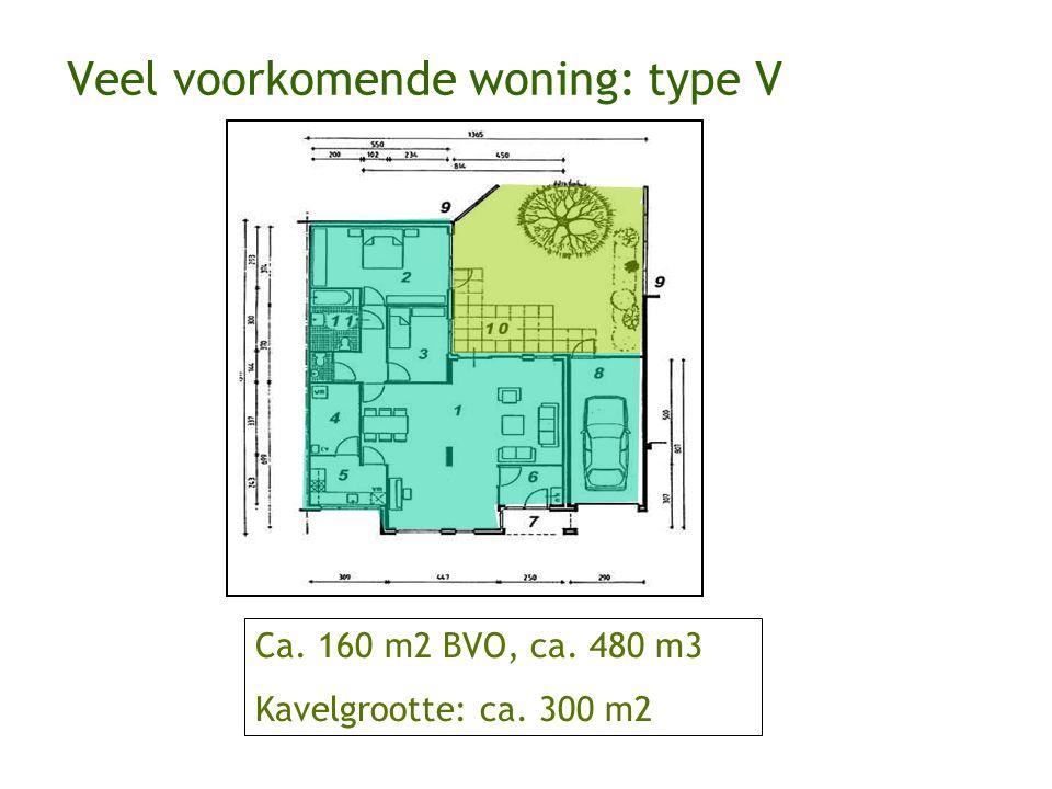 Ca. 160 m2 BVO, ca. 480 m3 Kavelgrootte: ca. 300 m2 Veel voorkomende woning: type V