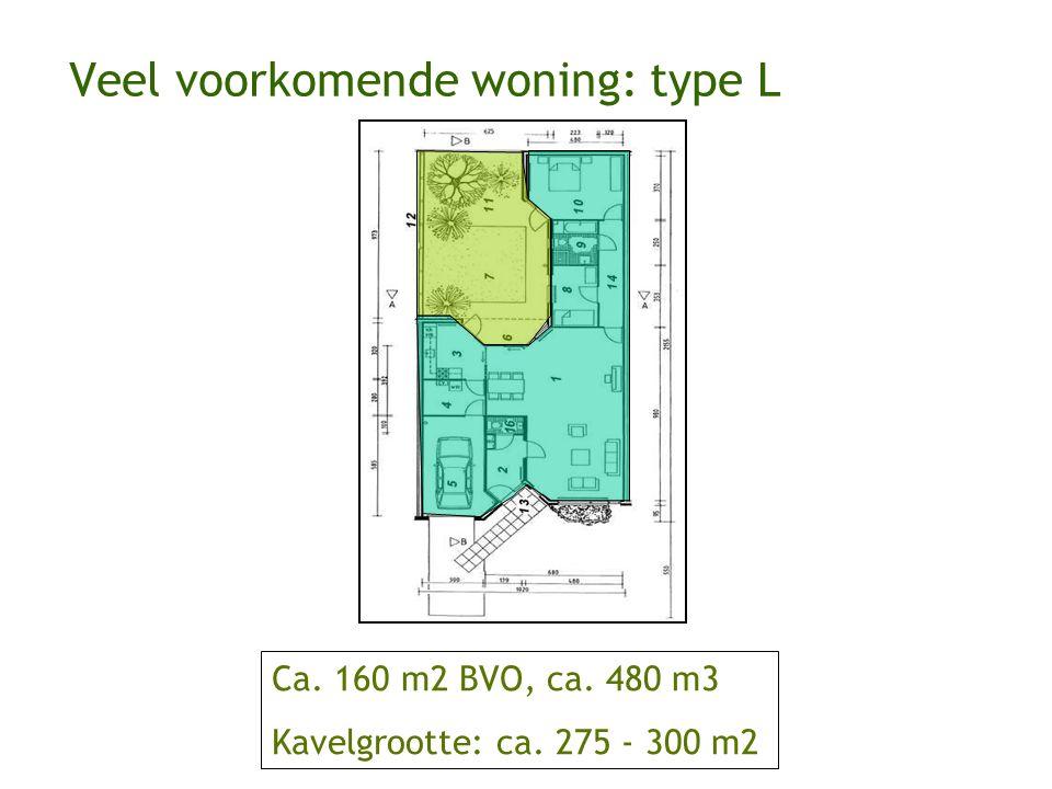 Veel voorkomende woning: type L Ca. 160 m2 BVO, ca. 480 m3 Kavelgrootte: ca. 275 - 300 m2