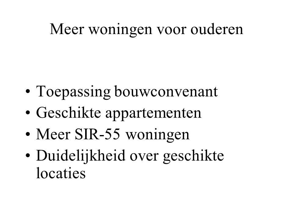 Meer woningen voor ouderen Toepassing bouwconvenant Geschikte appartementen Meer SIR-55 woningen Duidelijkheid over geschikte locaties