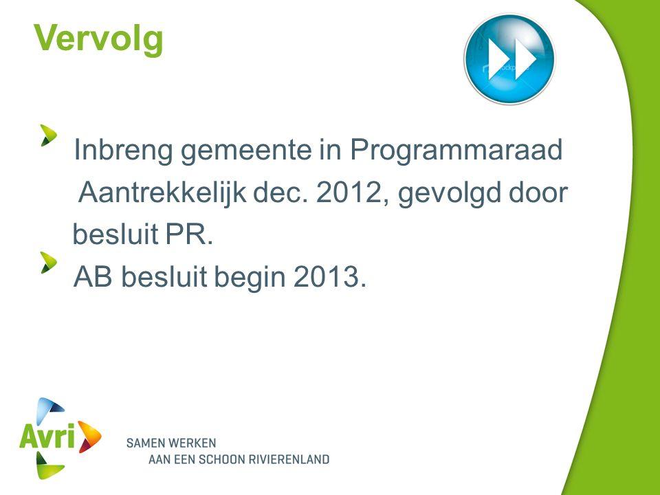 Vervolg Inbreng gemeente in Programmaraad Aantrekkelijk dec.