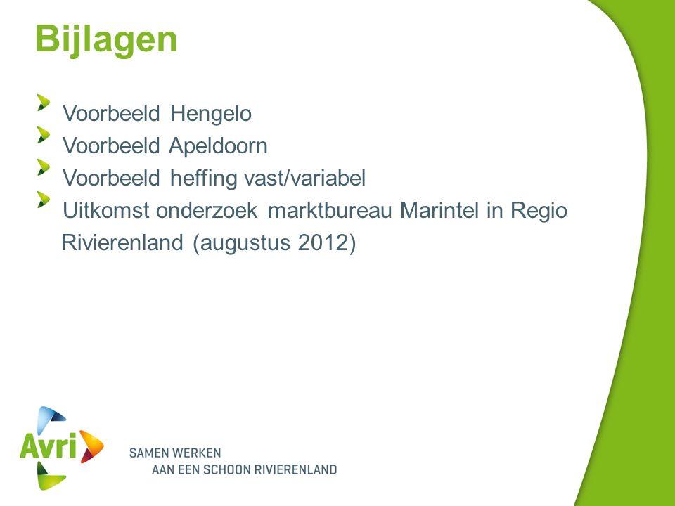 Bijlagen Voorbeeld Hengelo Voorbeeld Apeldoorn Voorbeeld heffing vast/variabel Uitkomst onderzoek marktbureau Marintel in Regio Rivierenland (augustus 2012)