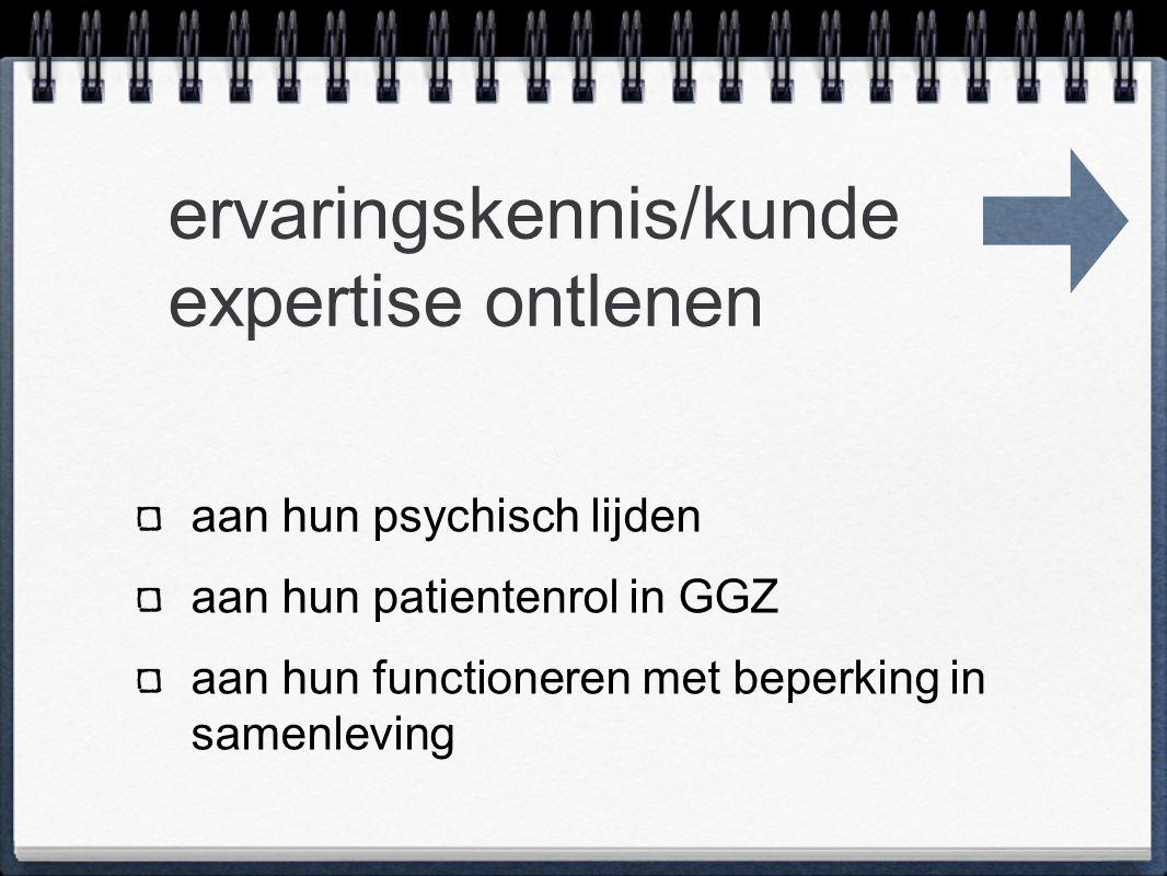 ervaringskennis/kunde expertise ontlenen aan hun psychisch lijden aan hun patientenrol in GGZ aan hun functioneren met beperking in samenleving