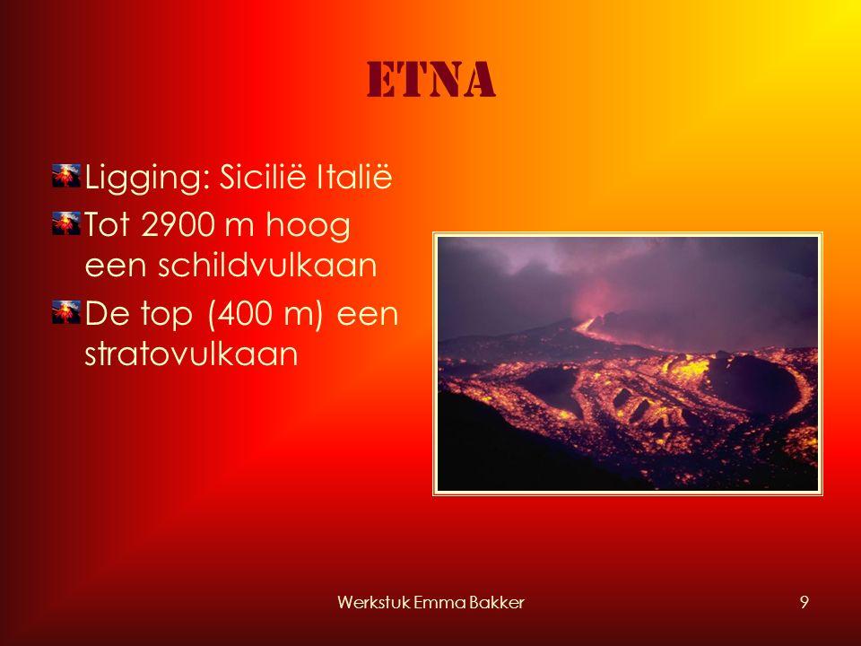 Werkstuk Emma Bakker9 Etna Ligging: Sicilië Italië Tot 2900 m hoog een schildvulkaan De top (400 m) een stratovulkaan