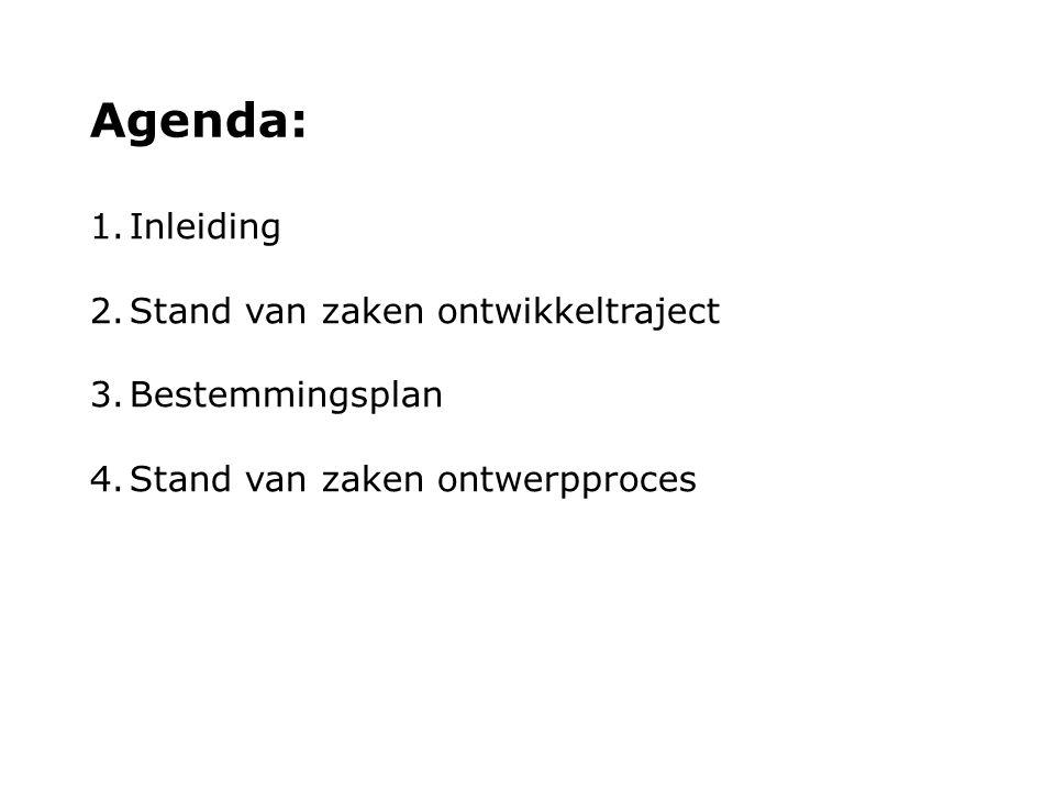 Agenda: 1.Inleiding 2.Stand van zaken ontwikkeltraject 3.Bestemmingsplan 4.Stand van zaken ontwerpproces