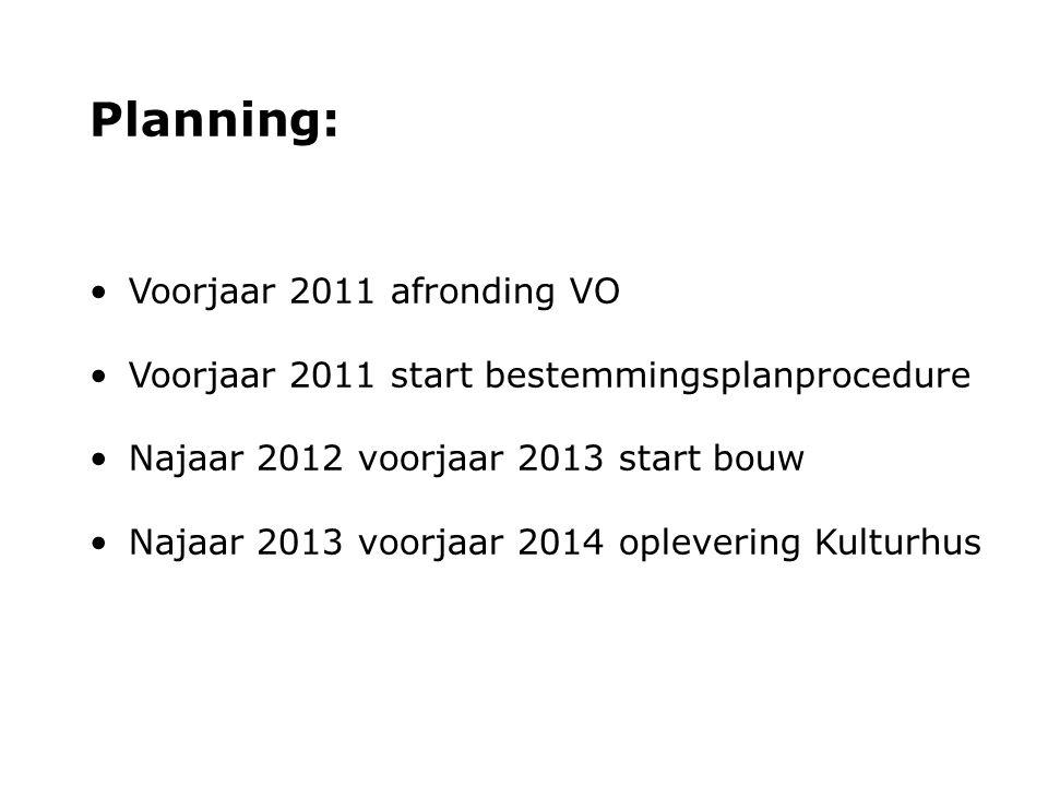 Planning: Voorjaar 2011 afronding VO Voorjaar 2011 start bestemmingsplanprocedure Najaar 2012 voorjaar 2013 start bouw Najaar 2013 voorjaar 2014 oplev