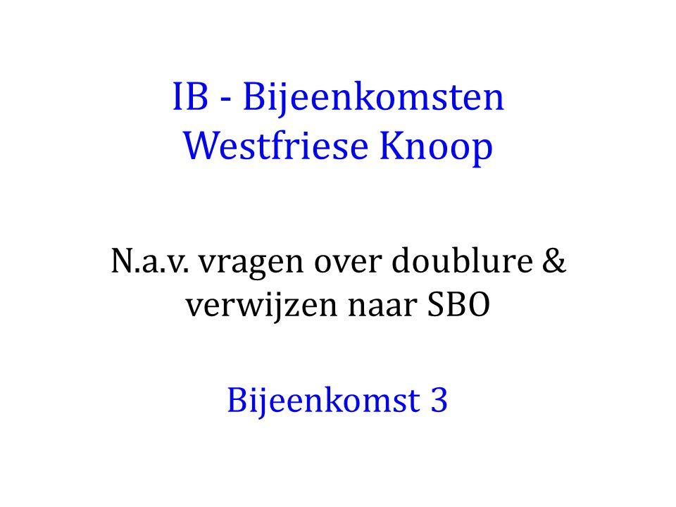 IB - Bijeenkomsten Westfriese Knoop N.a.v. vragen over doublure & verwijzen naar SBO Bijeenkomst 3