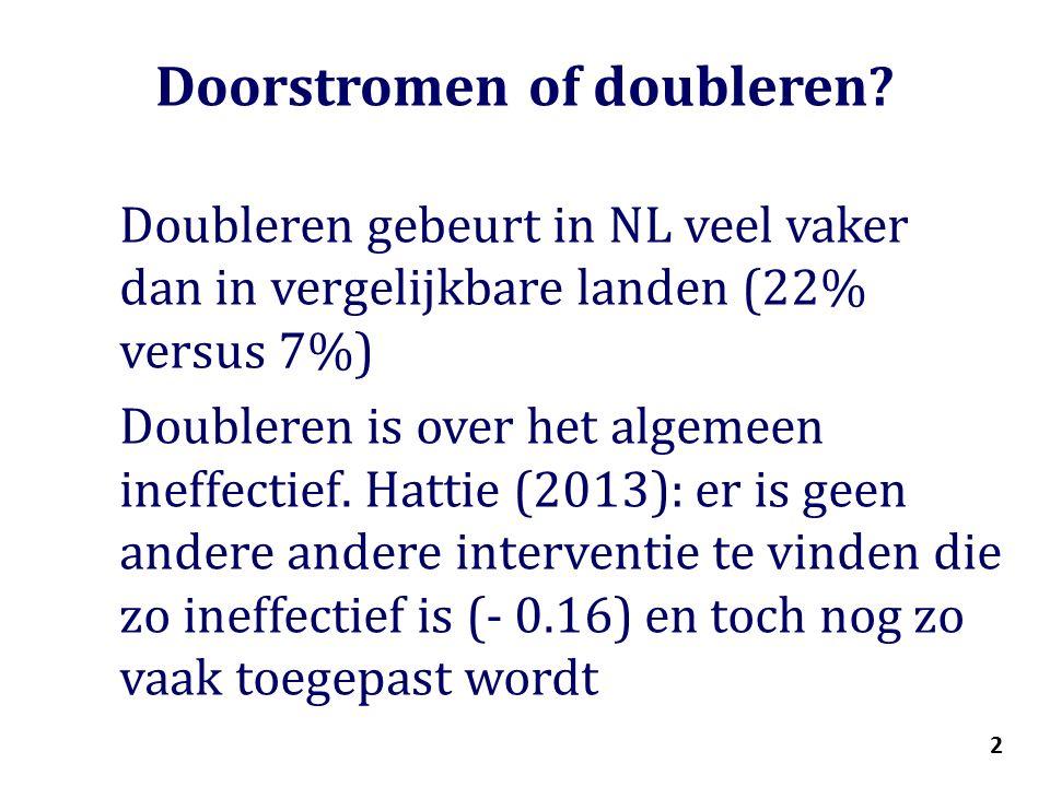 2 Doorstromen of doubleren.