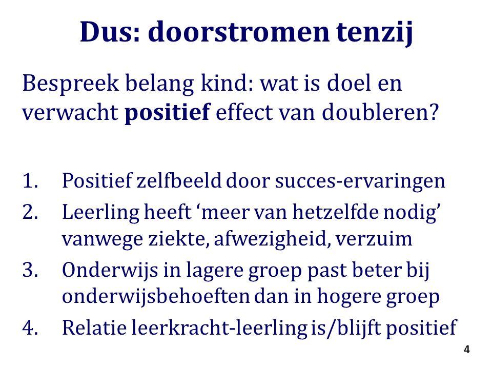 4 Dus: doorstromen tenzij Bespreek belang kind: wat is doel en verwacht positief effect van doubleren.