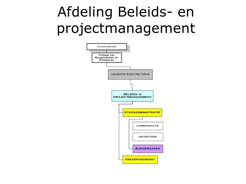Afdeling Beleids- en projectmanagement