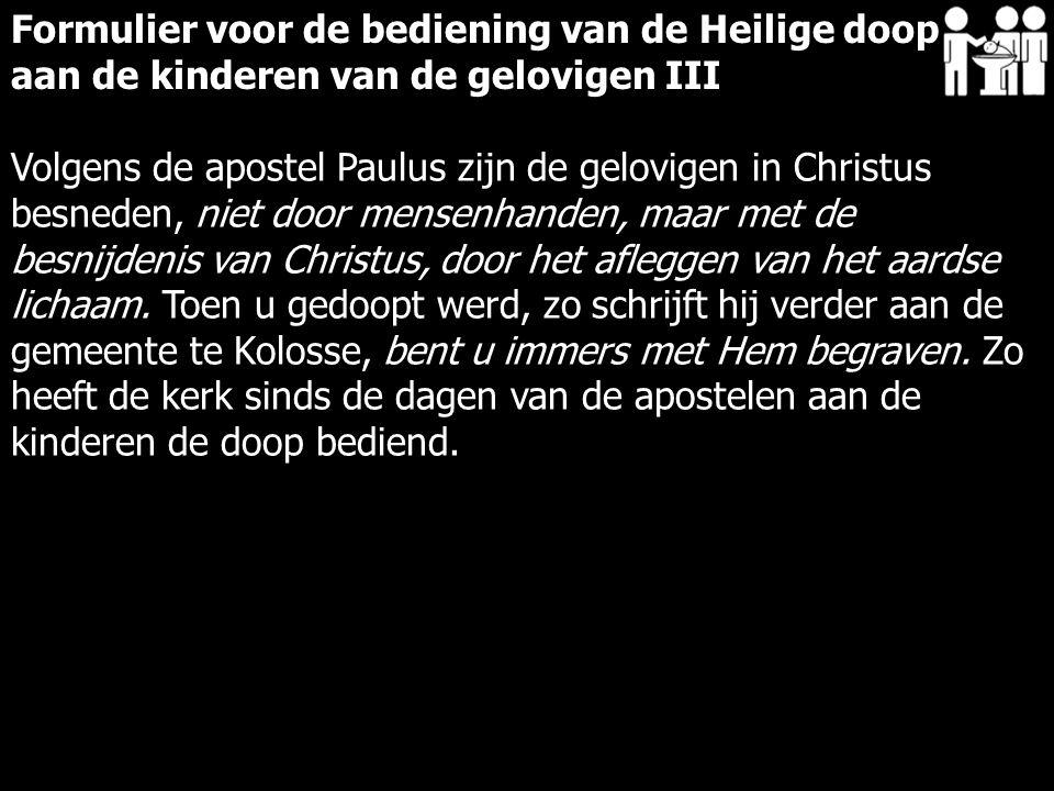 Volgens de apostel Paulus zijn de gelovigen in Christus besneden, niet door mensenhanden, maar met de besnijdenis van Christus, door het afleggen van