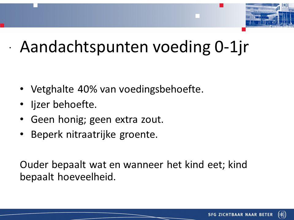 Titel Aandachtspunten voeding 0-1jr Vetghalte 40% van voedingsbehoefte.
