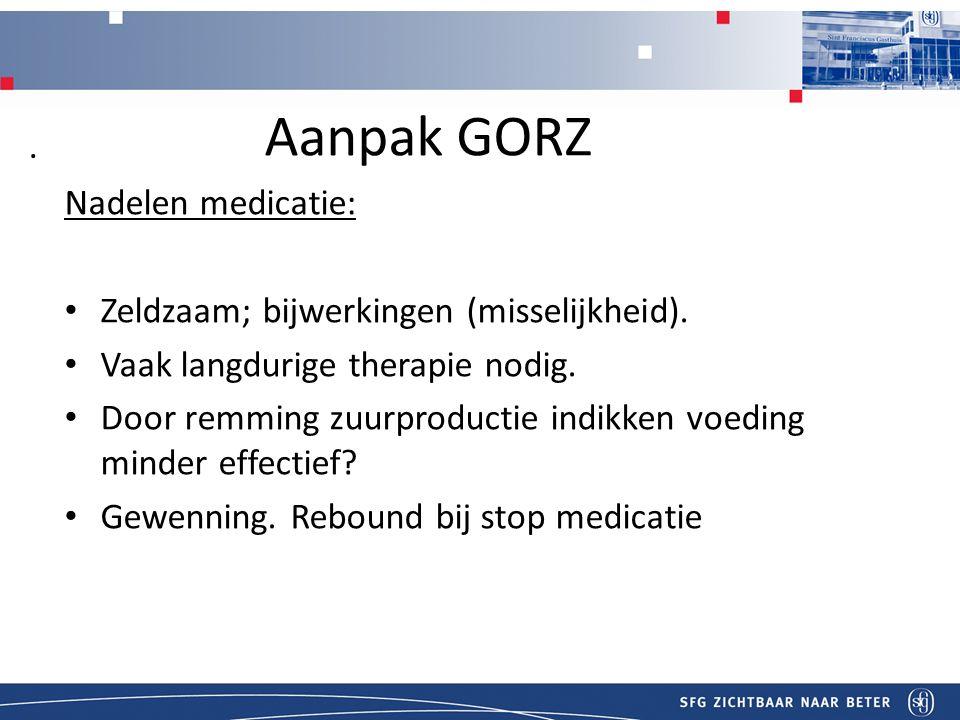 Titel Aanpak GORZ Nadelen medicatie: Zeldzaam; bijwerkingen (misselijkheid).