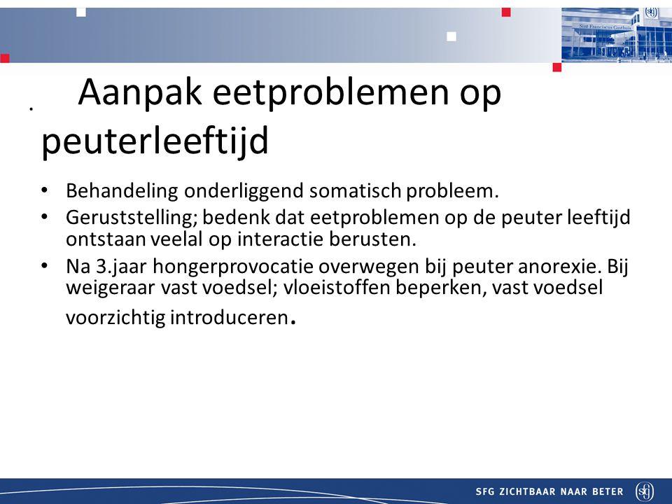 T Aanpak eetproblemen op peuterleeftijd Behandeling onderliggend somatisch probleem.