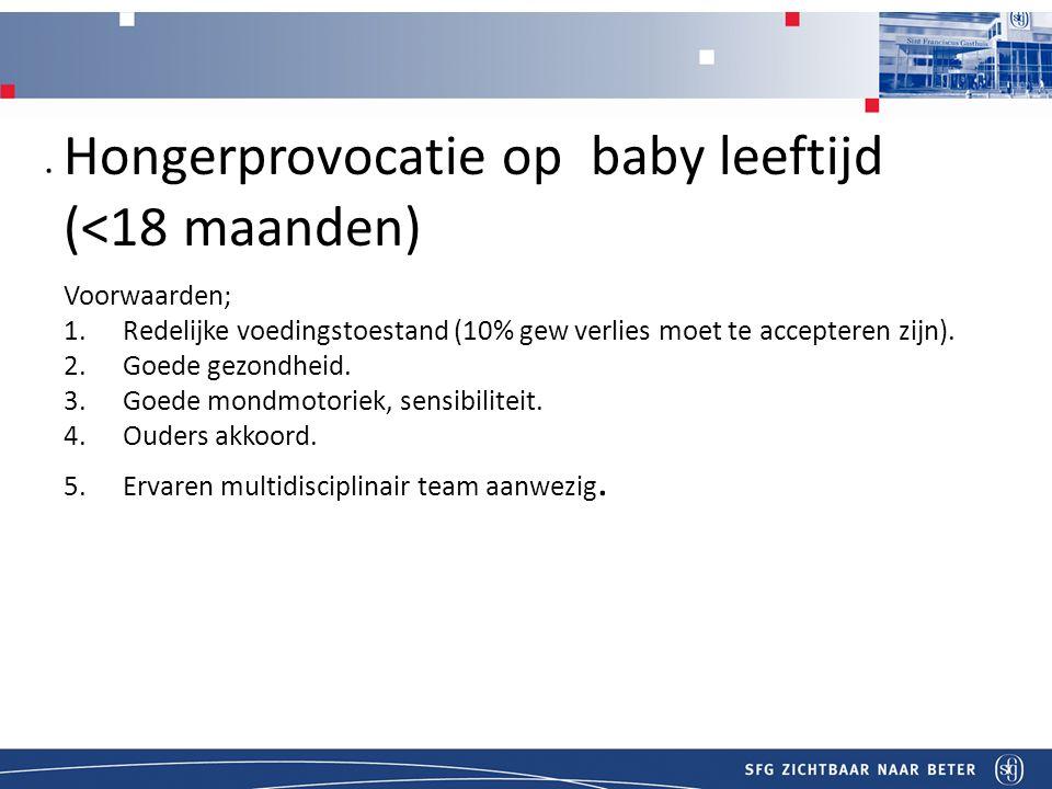 T Honger provocatie bij Hongerprovocatie op baby leeftijd (<18 maanden) itel Voorwaarden; 1.Redelijke voedingstoestand (10% gew verlies moet te accepteren zijn).