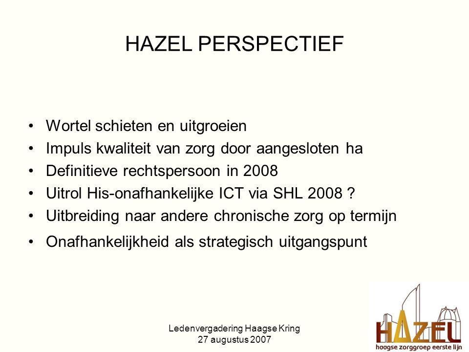 Ledenvergadering Haagse Kring 27 augustus 2007 HAZEL PERSPECTIEF Wortel schieten en uitgroeien Impuls kwaliteit van zorg door aangesloten ha Definitieve rechtspersoon in 2008 Uitrol His-onafhankelijke ICT via SHL 2008 .