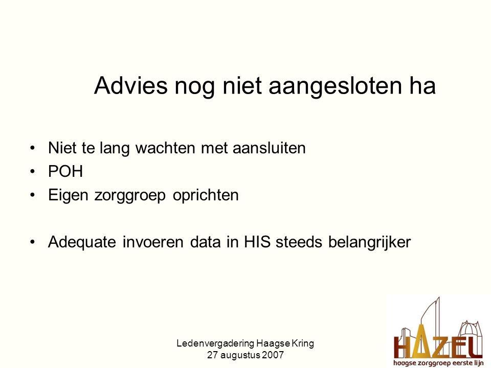 Ledenvergadering Haagse Kring 27 augustus 2007 Advies nog niet aangesloten ha Niet te lang wachten met aansluiten POH Eigen zorggroep oprichten Adequate invoeren data in HIS steeds belangrijker