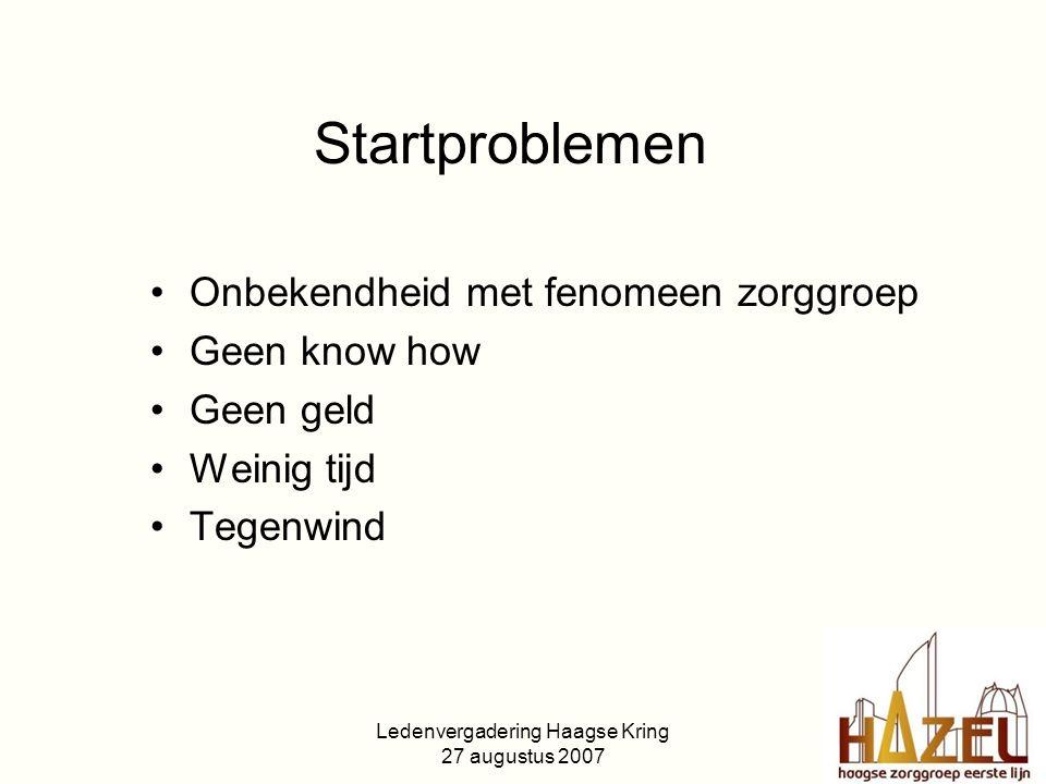 Ledenvergadering Haagse Kring 27 augustus 2007 Startproblemen Onbekendheid met fenomeen zorggroep Geen know how Geen geld Weinig tijd Tegenwind