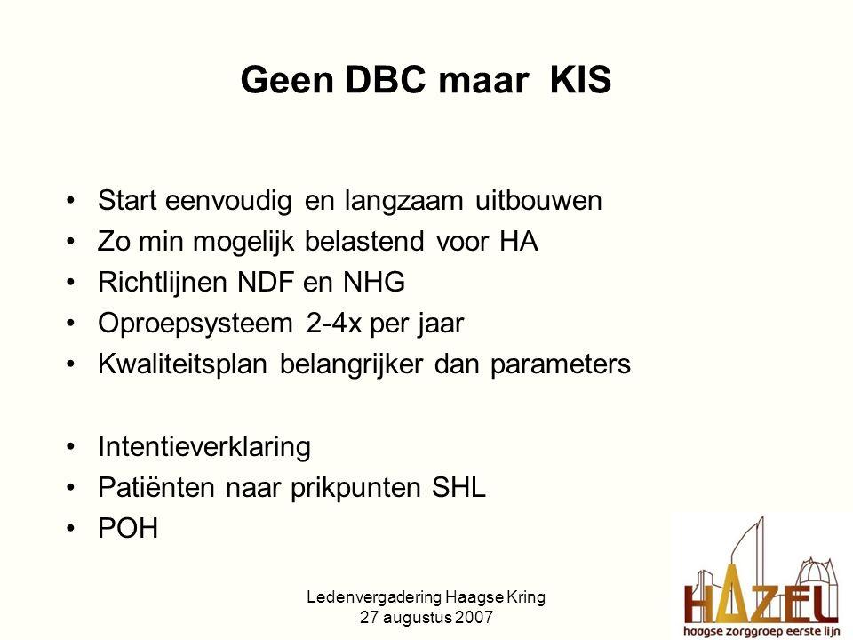 Ledenvergadering Haagse Kring 27 augustus 2007 Geen DBC maar KIS Start eenvoudig en langzaam uitbouwen Zo min mogelijk belastend voor HA Richtlijnen NDF en NHG Oproepsysteem 2-4x per jaar Kwaliteitsplan belangrijker dan parameters Intentieverklaring Patiënten naar prikpunten SHL POH